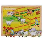 Skillofun Wooden Magnetic Twin Play Tray - Animal Barn, Multi Color