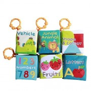 Labebe Cloth Book/Activity Books/Peekaboo for Baby/Toddler/Kids, Shower Gift, 6-Pack, Animal/Number/Fruit/Color&Shape/Letter/Vehicle