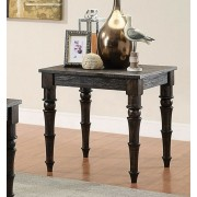 Acme 81616 Kami collection antique black finish wood end table with turned legs