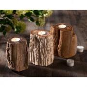 Waxinelichthouder van fossiel hout