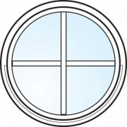 Dörrtema Fönster 3-glas energi argon rund vitmålat med spröjs Modul diameter 10