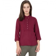Indra Fashion Maroon Colour Rayon Striped Western top Office Wear Casual Wear Party Wear For Women's and Girls