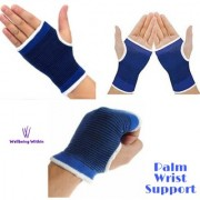 Wellbeing WIthin Elastic Palm Wrist Glove Hand Grip Support Protector Brace Sleeve Support (Free Size Blue)