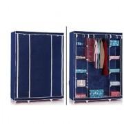 Unique Cartz Blue 3 door Foldable Almirah Wardrobe Cupboard DIY