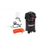 POWERPLUS Sárga álló kompresszor olajmentes (POWX1731) - 1100 W/24 l/black