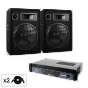 Malone Boom DJ PA szett, erősítő, hangfal, kábel, 1200W (PL-212-2166)