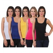 Friskers Multicolor Plain Square Neck Tank Tops For Women