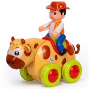 RIANZ Baby Toys Figure Pull Back Cartoon Car Toy Push and Go Friction Powered Animal Cars Fun Toys for Children 1PC (Bull / Cow)