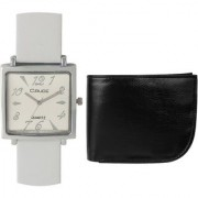 Crude Combo of Analog White Dial Watch-rg721 With Black Leather wallet