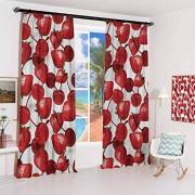 GUUVOR Cortina para el Sol, Color Rojo y Negro, Modelo boceto, a Prueba de Sonido, Color17, W26 x L54 x2 Inch,Hook and Loop Free, 1