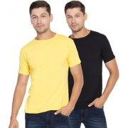 Cliths Men's Round Neck Slim Fit Cotton Solid T-Shirts Set of 2 (Black Yellow)