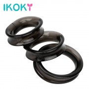 IKOKY 3pcs/Sets Penis Ring Dildo Extender Elastic Cock Ring Male Masturbator Adult Products Delay Ejaculation Sex Toys for Men