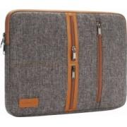 Geanta DOMISO pentru laptop macbook 14 inch compartimentata cu 3 buzunare exterioare cu fermoar maro
