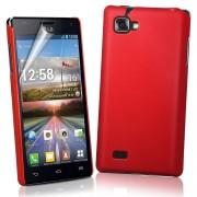 LG Optimus 4X HD P880 Твърд Калъф Червен + Протектор