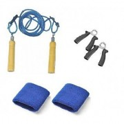Combo pack Skipping rope + Wrist bands + Hand Gripper