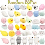 Mini Animals Squishy, BeYumi Random 28 Pcs Kawaii Cute Soft Squishy Stretchy Toys Mini Animal Hand Toy Stretchy Healing Stress Reliever