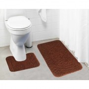 Lushomes Golden Brown Thick and fluffy 1800 GSM bathmat with High Pile Microfiber (Bathmat: 19 x 30 Contour: 19 x 18 )
