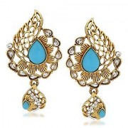 VK Jewels Sky Blue Stone Gold Plated Alloy Drop Earring set for Women & Girls -ERZ1306G [VKERZ1306G]