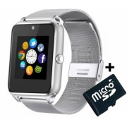 Ceas Smartwatch cu Telefon iUni GT08s Plus Curea Metalica Touchscreen Camera Notificari Silver + Card MicroSD 4GB Cadou Bonus Bratara Roca Vulcanica unisex