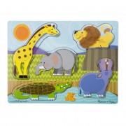Melissa & Doug Készségfejlesztő játék, Tapintós puzzle, állatkert