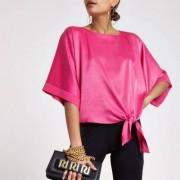 River Island Roze satijnen T-shirt met knoop opzij Dames