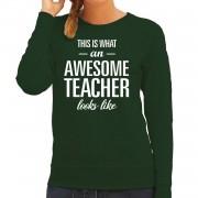 Bellatio Decorations Awesome teacher / juf cadeau trui groen voor dames