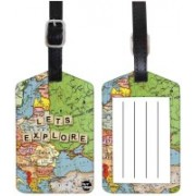 Nutcaseshop Map Blue Luggage Tag(Multicolor)
