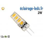 Ampoule led G4 2w SMD 2835 blanc chaud 3000K 12v DC ref A192-1