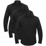 vidaXL Overhemden man maat XL zwart 3 st