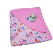 Furn@Home Alphabetical Character Teddy Hooded Design Light Pink Baby Blanket