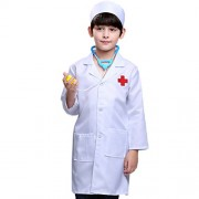 Inditake Fancy Dress Doctor Costume,Pretend Play Little Nurse Doctor Professional Role Playing Costume for Children - Long Sleeve of Doctor + Cap Size 90cm (White )