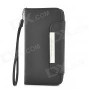 funda protectora de cuero de la PU abierta para el iphone 5C - negro