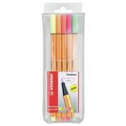 STABILO International GmbH STABILO® point 88 Tintenfeinschreiber, neon, Fineliner ideal für feines Schreibe, Zeichnen und Skizzieren, 1 Packung = 5 Stück