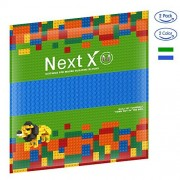 NextX Brick Baseplates Compatible with LEGO Brick Building Toys, 10'' X 10'' Thickening Base Plate for Major Brand Building Blocks (Blue+Green)