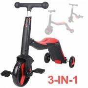 Trotineta multifunctionala, Honor, 3 in 1, Negru/Rosu, transformabila in tricicleta sau balance bike, cu lumini si muzica