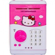 Shribossji Hello Kitty Piggy Savings Bank With Electronic Lock Automatic Notes Coin Deposit Atm Bank For Kids