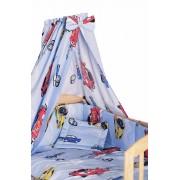 Lenjerie cu baldachin, 6 piese, masinute mari, albastre, 120x60 cm
