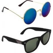 Zyaden Round, Wayfarer Sunglasses(Blue, Green)