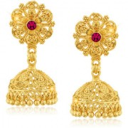 Vighnaharta Traditional 1gm Gold South Screw Back Alloy Gold and Micron Plated Jhumka Earring- VFJ01127ERG