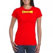 Shoppartners Rood t-shirt met Spanje vlag strikje dames