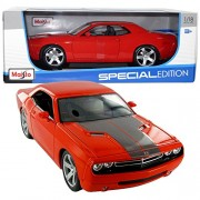 Maisto Year 2014 Special Edition Series 1:18 Scale Die Cast Car Set Crimson Red Color Muscle Coupe 2006 Dodge Challenger Concept With Display Base (Car Dimension: 10 X 4 X 3)