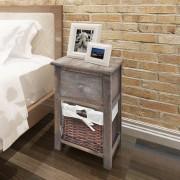 vidaXL Mesas cabeceira em estilo shabby chic, 2 pcs, madeira, castanho