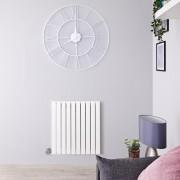 Hudson Reed Radiateur design électrique horizontal – Blanc - 63,5 cm x 60 cm x 5,4 cm - Sloane