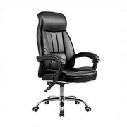 LEOO Silla de oficina ejecutiva de cuero altamente consolidado, silla reclinable ajustable de bloqueo de brazos abatibles para computadora, acolchado grueso y diseño ergonómico para soporte lumbar neg