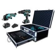 Silex France ® Coffret perceuse et meuleuse sans fil 2 batteries Li-Ion (2Ah & 5Ah) Silex®