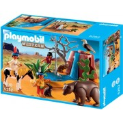 Playmobil Western American Native Children with Bear Cave