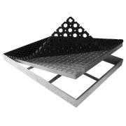Kovová ocelová čistící venkovní vstupní rohož ze svařovaných podlahových roštů s gumou s pracnami Galva, FLOMA - délka 43 cm, šířka 101,5 cm a výška 6 cm