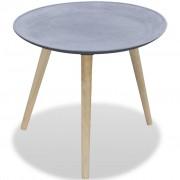 vidaXL Странична маса, кръгла, бетонно сив цвят