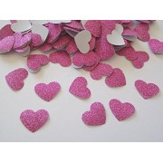 Luvish Creation Glitter Heart Shape Cut Out, Glitter Heart , Glitter Confetti, Birthday Party Decorations ,Party Confetti Table Scatter Decor, Valentines Decoration (Pink, 200 PC)