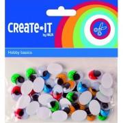 Haza Zelfklevende wiebelogen met gekleurde wimper 40 stuks - Hobbybasisvoorwerp
